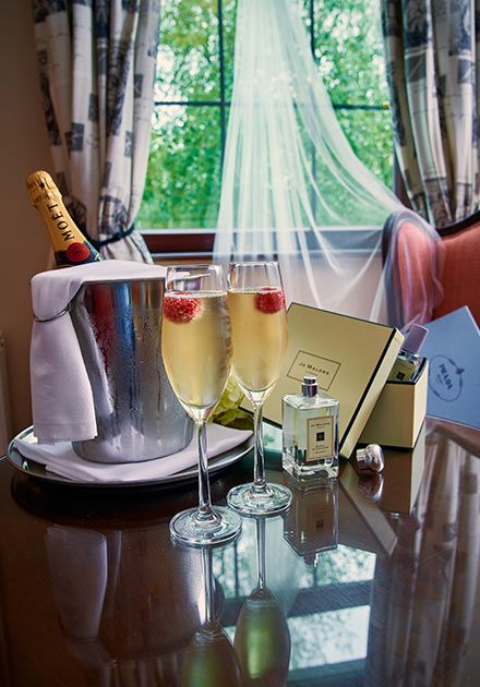 Champagne in room at Bunratty Manor